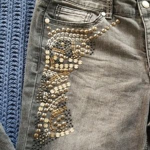 Cache Embellished Gray Jeans Boot Cut